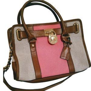 Michael kors pink strip Hamilton bag